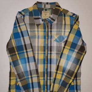 Guess Los Angeles XL 1981 Plaid Zip Up Long Sleeve
